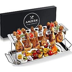 AMZBBQ Premium Hähnchenschenkelhalter für Backofen & Grill, Hähnchenbräter aus Edelstahl, Hähnchenhalter für 12 Keulen, Hähnchenkeulenhalter mit Auffangschale, Hähnchen Grill Ständer & BBQ Rack