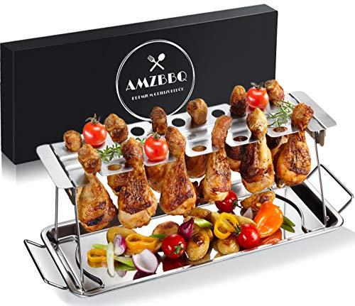 AMZBBQ Premium Hähnchenschenkelhalter für Backofen & Grill, Hähnchenbräter aus Edelstahl, Hähnchenhalter für 12 Keulen, Hähnchenkeulenhalter mit Auffangschale,...