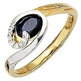 Ring Damen 14 Karat (585) Weißgold Gelbgold mit Weißgold kombiniert Saphir 1 8 Diamant null 58 (18.5)