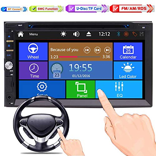 Car Stereo Bluetooth 2-DIN-Radio im Schlag-Multimedia-Player mit 6,95 Zoll-Full-Touch-Screen-DVD-CD-Player Head Unit mit 3 UI optional Unterstützung Bluetooth Subwoofer Backup-Kamera AUX SD / USB (Cd-player Touch)