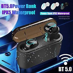 Wapern Q32 Bluetooth Headset, 5,0 TWS U-Ohrhörer mit mobiler Stromversorgung, magnetische In-Ear-Ohrhörer, passend für…