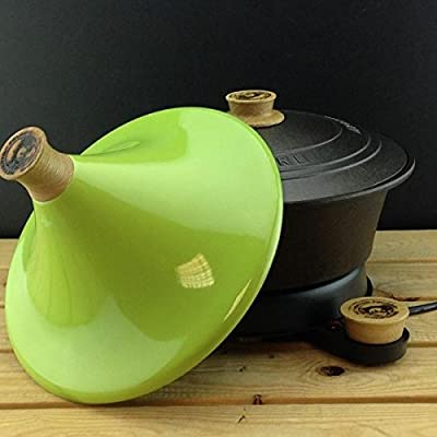Netherton Foundry Cast Iron Slow Cooker with stylish apple green tagine lid (2016 model) by Netherton Foundry
