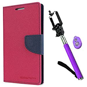 Aart Fancy Diary Card Wallet Flip Case Back Cover For HTC526 - (Pink) +Remote Aux Wired Fashionable Selfie Stick Compatible for all Mobiles Phones By Aart Store