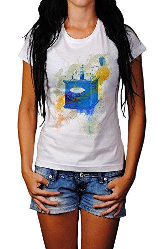 Kaffemuehle Vintage Damen T- Shirt , Stylisch aus Paul Sinus Aquarell Color