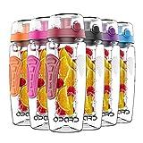 Opard Trinkflasche 1 Liter Fruit Infuser Sports Trinkflasche Water Bottle Tritan BPA-Frei Kunststoff Flasche mit Rezept und Pinsel (Rosa)