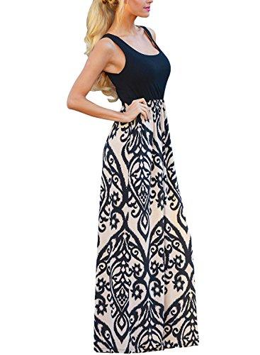 Happy Sailed Womens Sleeveless Summer Long Boho Maxi Dress