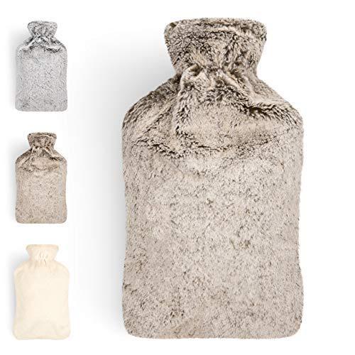 Blumtal Wärmflasche mit weichem Bezug - 1,8L Wärmeflasche, Bettflasche, Wärmflasche Kinder, braun