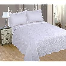 ForenTex - Colcha bouti, (BL-2603), cama 150 cm, 240 x 260cm, + 2 fundas cojines, Blanca, Bordada en relieve, set de cama, ropa de cama. Por cada 2 colchas o mantas paga solo un envío (o colcha y manta), descuento equivalente antes de finalizar la compra.