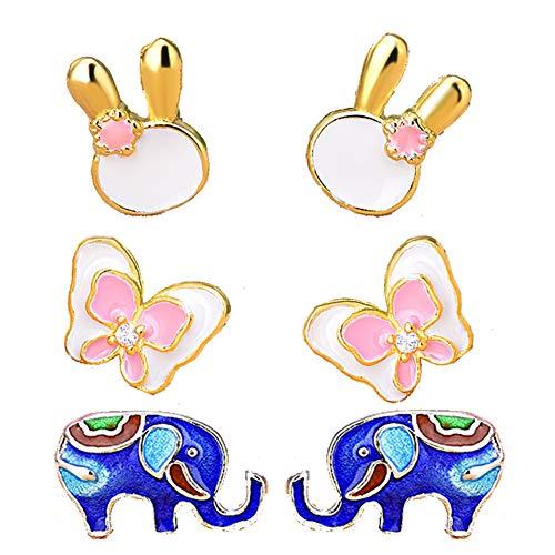 Udecoroption Pendientes Animales Piercing Oreja, Conejo Pendientes Elefante Pendientes para Las Mujeres,...