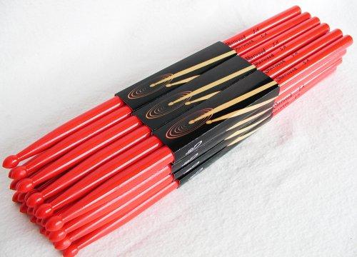 12 Paar Drumsticks 5A Rot (24 Stück) + dicke Tasche