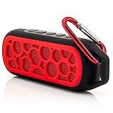 Saxonia Tragbarer Bluetooth Lautsprecher Portable Wireless Speaker Sport Outdoor Music Box mit Karabinerhaken (wasserdicht, staubdicht und stoßfest) Rot
