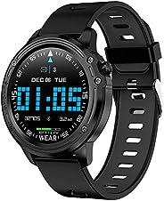 ساعة ذكية، جهاز تتبع اللياقة البدنية، سوار ذكي بشاشة تعمل باللمس بالكامل، تصنيف اي بي 68 لمقاومة الماء واللياق