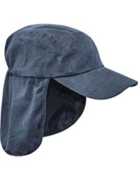 MENS LEGIONNAIRES HAT 100% cotton Navy blue sun safe bush cap Gents wide and long neck cover hiking