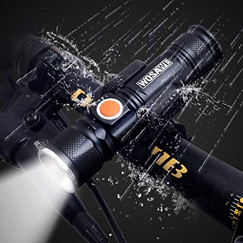 ROOKLY Lamp Clip Flashlight T6 USB Charging Long-Range Focusing Flashlight Headlights/ 1200 Lumens/IPX-4 Waterproof/Fits On Any Road Bikes