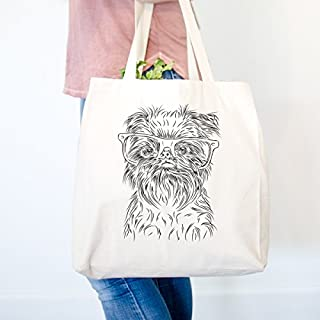 Alo The Brussels Griffon Heavy Duty 100% Cotton Canvas Tote Shopping Reusable Grocery Bag 14.75 x 14.75 x 5