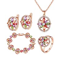 ‏‪Best Gift Rose Gold Color Jewelry Sets for Women with High Quality Multicolor AAA Zircon Wedding & Engagement Jewelry‬‏
