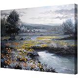 Cuadros en lienzo paisaje con flores amarillas -Pintura actual pintada a mano con pinturas al oleo - Arte para decoración,medidas 81x65 cm