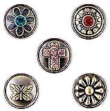 Morella® Damen SMALL Click-Button Set 5 Stück Druckknöpfe 12 mm Ø Glücksbringe Kreuz und Herz