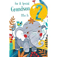 Special Grandson 2nd Age 2 Today Cute Elephant Happy Birthday Card Lovely Verse
