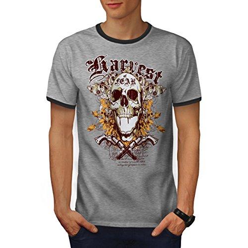 Ernte Angst Gewehr Schädel Epos Geist Herren L Ringer T-shirt | Wellcoda (T-shirt Ringer Geist)