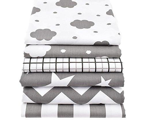Open Buy Lot de 6 tissus de couture Motif étoiles et nuages/couleur gris pastel 40 x 50 cm