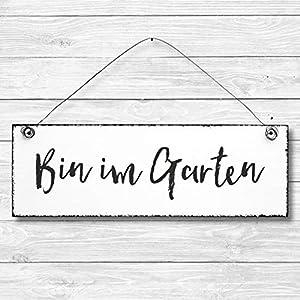 Bin im Garten – Dekoschild Türschild Wandschild aus Holz 10x30cm – Holzdeko Holzbild Deko Schild