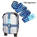 Regolabile da viaggio bagaglio lungo croce con TSA con lucchetto a combinazione–resistente, antiscivolo, cintura di sicurezza per bagagli valigia 45,7cm ~ 86,4cm Blue