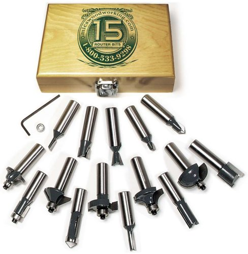 MLCS 8377 15-Piece Router Bit Set with Carbide-Tipped 1/2-Inch Shanks by MLCS - Mlcs Router Bits