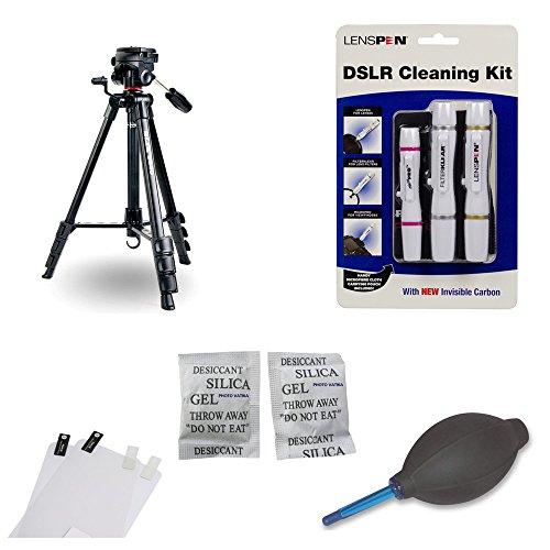 Tripod Accessory Kit for Canon 70D Including Slik Tripod S640 , Lenspen Elite Kit, Lenspen HB-1 Blower, Screen Protector and Silica gel ( 20 Packs of 5 gm each)
