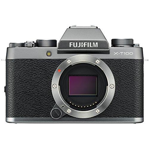 Fujifilm X-T100 Digital Camera Body (Dark Silver) with 32GB Card + Battery + Tripod + Flash + Case + Kit