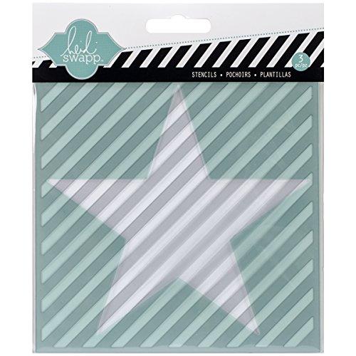American Crafts Kunststoff Heidi Swapp 10268595Schablone zum Mixed Media Schablonen 14x 14, Cut Out Star und Diagonale Streifen