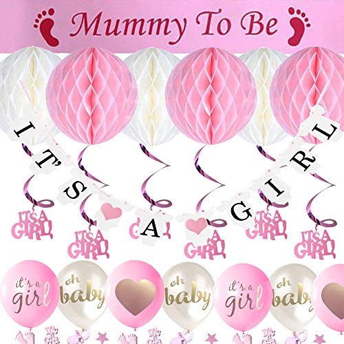 Sunshine smile Babyparty Deko Mädchen und Junge, with a Mummy to be Sash, a It's A Girl Banner, 6pcs Honeycomb Balls, It's A Girl Hanging Swirls Decorations,5pcs Balloons and Baby Shower Confetti