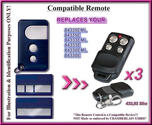 3x Chamberlain 84335EML, 84335E, 84333EML, 84333e, 84330EML, 84330e kompatibel Fernbedienung Sender 433,92MHz. 3Top Qualität Ersatz-Fernbedienung für die besten Preis