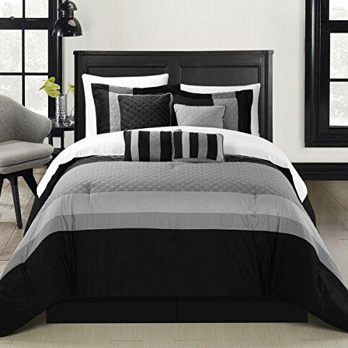 mit Schwarz 8Stück Tröster Bed in a Bag Set, Polyurethan, schwarz, King Size (8 Stück Tröster)