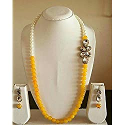 ACT Unique Designer Necklace with Sparkling Diamond and White & Yellow Pearl with Earrings-ACT57