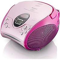Lenco SCD24 - CD-Player für Kinder - CD-Radio - Stereoanlage - Boombox - UKW Radiotuner - Titel Speicher - 2 x 1,5 W RMS-Leistung - Netz- und Batteriebetrieb - Rosa