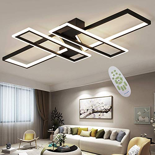 LED Plafonnier Moderne Salon Lumière Lustre Dimmable 94W Créatif Aluminium Acrylique Conception Lampe Plafond Luminaire L'éclairage Lampe de Salon Lumière de la Chambre Bureau Plafonnier Lampe (Noir)