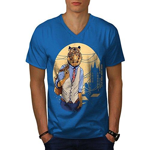 wellcoda Vereinigtes Königreich Tiger London Tier Männer XL V-Ausschnitt T-Shirt - London Tiger