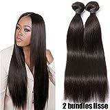 2 Tissage Bresilien En Lot Cheveux Naturel Lisse 100% Virgin Hair 20pouces 50g/pc Pas Cher 7A Straight Human Hair RICHAIR