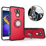 Mosoris Huawei Honor 6C Pro Hülle, Honor 6C Pro Handyhülle mit Ring Kickstand, Schutzhülle mit 360 Grad Drehbarer Handyhalterung Geeignet für Auto Magnet Ring für Huawei Honor 6C Pro, Rot