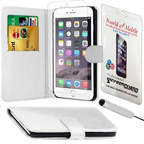 Monde de mobile®–Apple iPhone 4/4G/4S–QUALITÉ Premium Étui portefeuille à rabat en cuir synthétique avec film protecteur d'écran chiffon en microfibre Stylet + Écran LCD White Side Book Wallet