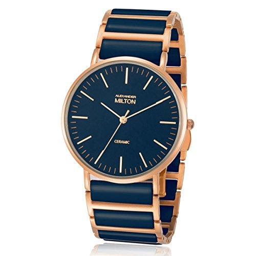 ALEXANDER MILTON - montre femme - CERES, bleu/dore rose
