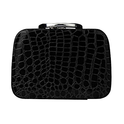 Make-up Tasche, lanowo Fashion Make-up Storage Leder Tasche Case Jewelry Leder Box Reise Organizer Kosmetiktasche schwarz