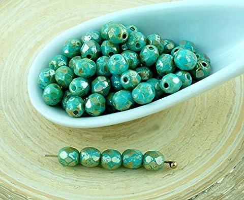 100pcs Bleu Turquoise Argent Picasso Ronde Verre tchèque Perles à Facettes Feu Poli Petite Entretoise de 4mm