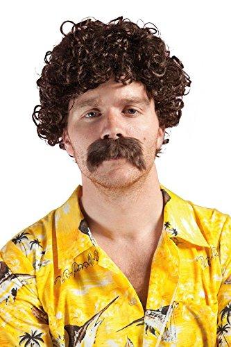 P'TIT CLOWN 81183 Lucien peluca y bigote, rizos pequeños, marrón
