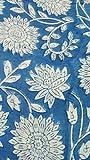 Handicraftofpinkcity Baumwollstofff, elegantes indisches Muster: Blumen auf blauem Grund, 4,57Meter