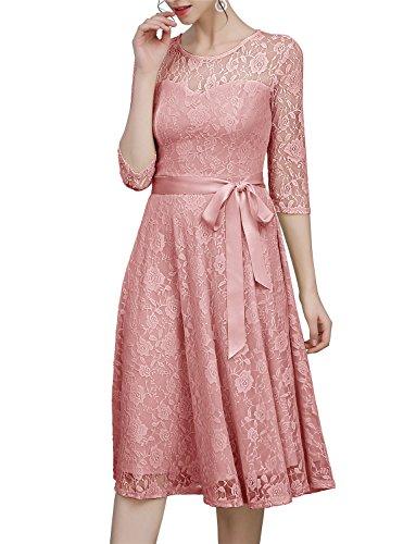Dressystar Spitzenkleid unter Knie 3/4 Ärmel Lang Damen Abendkleid Sexy Herzform Blush