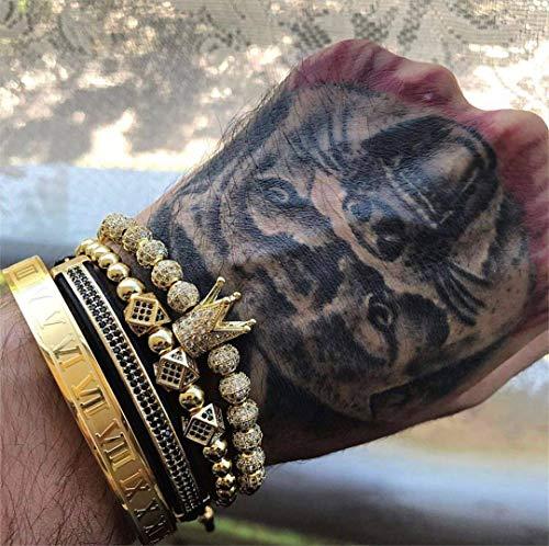 Imagen de abdyte pulsera de hombre joyería 4 unids/set encantos de corona cuentas de macramé pulseras trenzado hombre joyería mujer regalo de pulsera alternativa