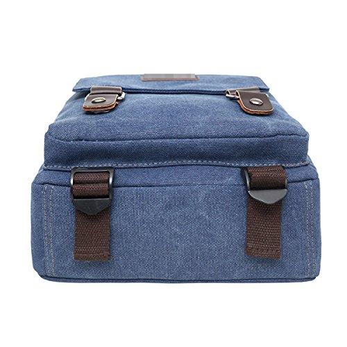 Funzione Zaino In Tela Di Canapa Vintage Escursioni Borsa Da Viaggio Tracolla Di Viaggio Per Gli Uomini Multicolor Blue