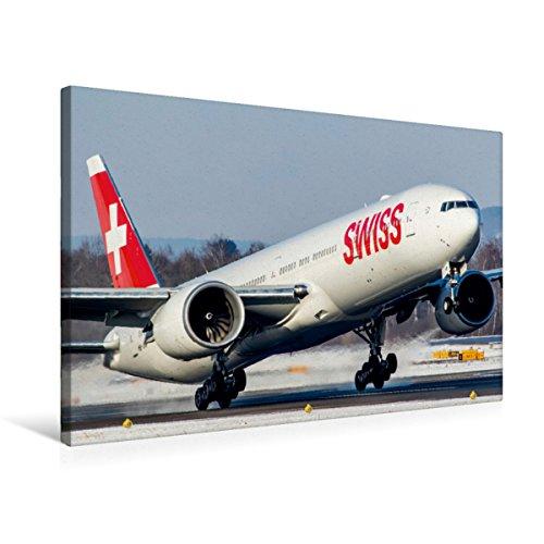 Premium Textil-Leinwand 75 x 50 cm Quer-Format SWISS Boeing 777-300ER Zürich, Switzerland |...
